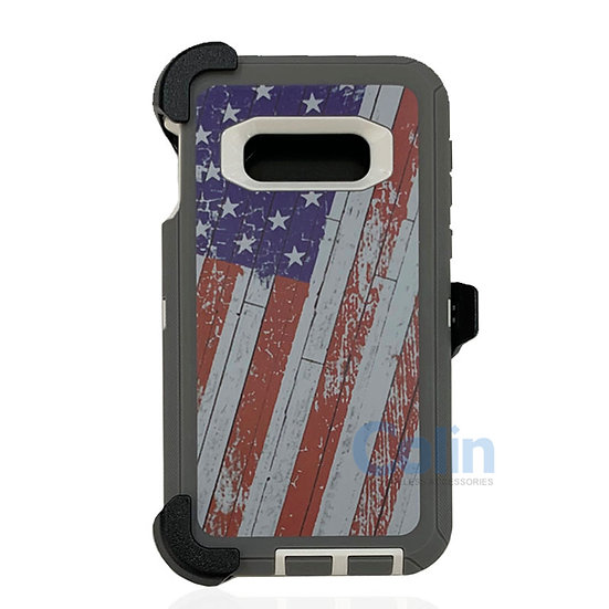 Samsung galaxy S10 E hybrid design case with clip heavy duty holster cover FLAG