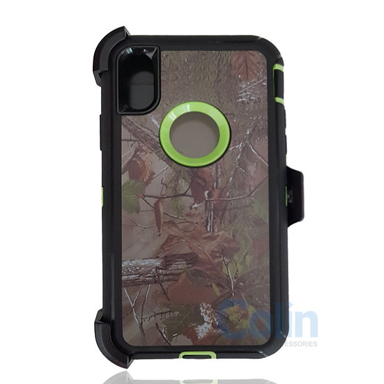 iPhone X & Xs hybrid design case with clip heavy duty holster cover - GREEN TREE