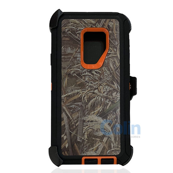 Samsung galaxy S9 Plus design case with clip heavy duty cover - ORANGE GRASS