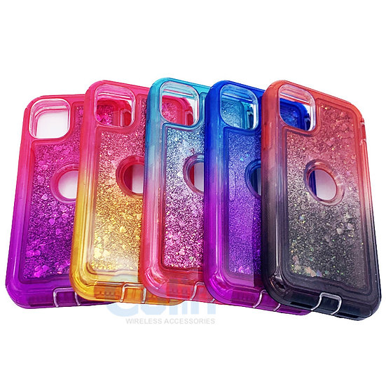 iPhone 11 Pro Glitter Liquid Floating Case Sparkle Two-Tone Heavy Duty cover