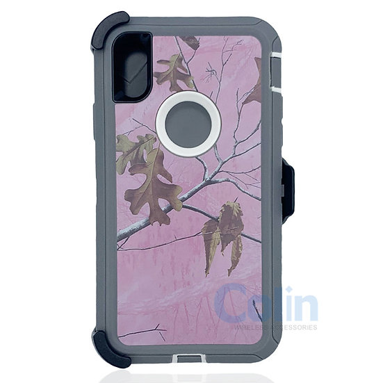 iPhone X R hybrid design case with clip heavy duty holster cover - Pink Tree