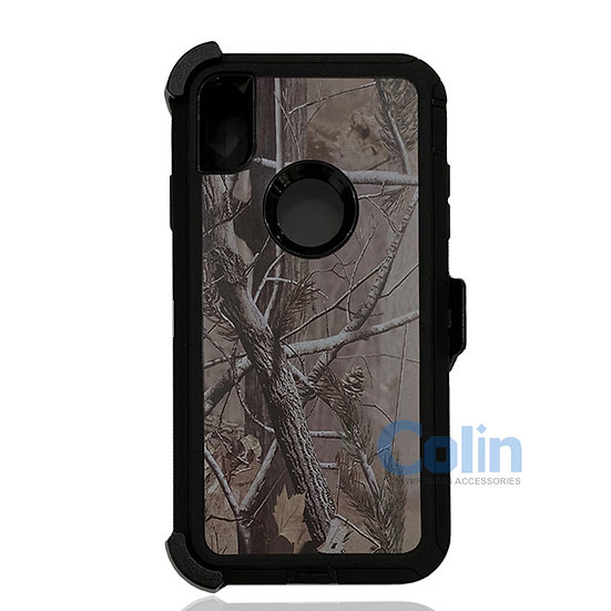 iPhone Xs Max hybrid design case with clip heavy duty holster cover - BLACK TREE