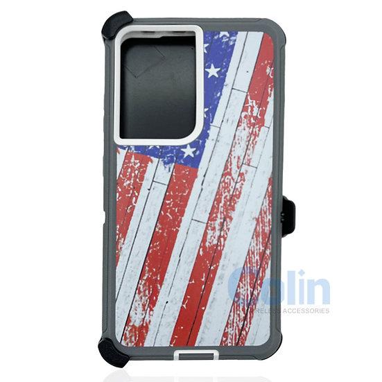 Samsung galaxy S21 ultra hybrid design case with clip heavy duty holster  - FLAG