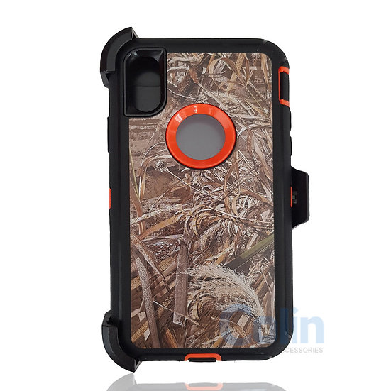 iPhone X & Xs hybrid design case with clip heavy duty holster cover ORANGE GRASS