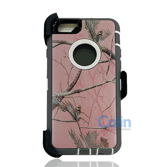 iPhone 6/6S hybrid design case with clip heavy duty holster cover - PINK TREE