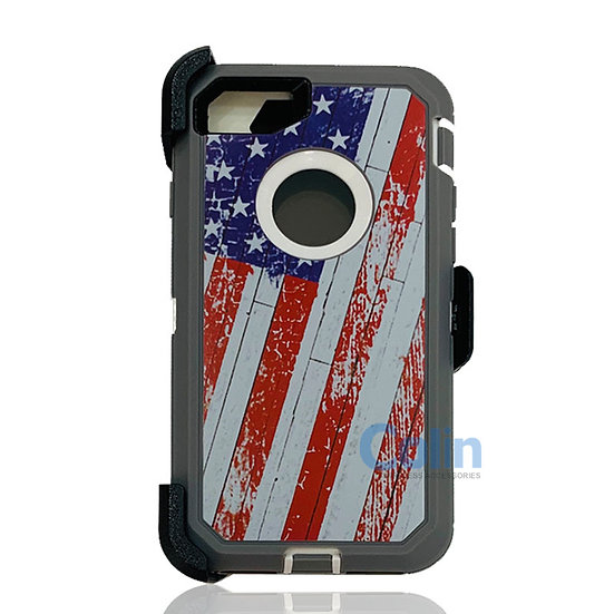iPhone 7/8 Plus design case with clip heavy duty holster cover - FLAG