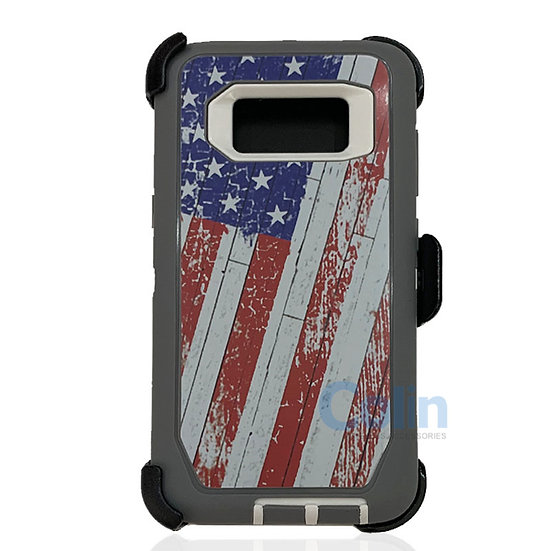 Samsung galaxy S8 hybrid design case with clip heavy duty holster cover - FLAG