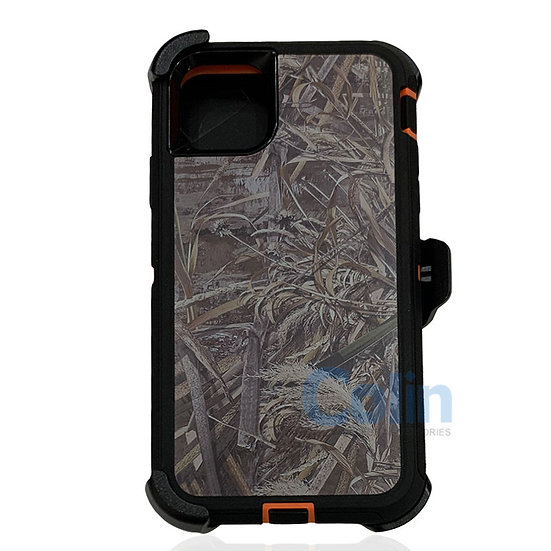 iPhone 11 hybrid design case with clip heavy duty holster cover - ORANGE GRASS