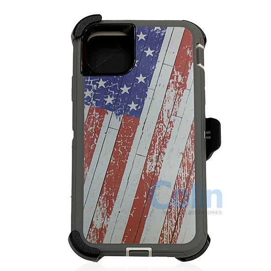 iPhone 11 Pro hybrid design case with clip heavy duty holster cover - FLAG