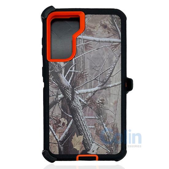 Samsung galaxy S21 hybrid design case clip heavy duty holster cover -ORANGE TREE