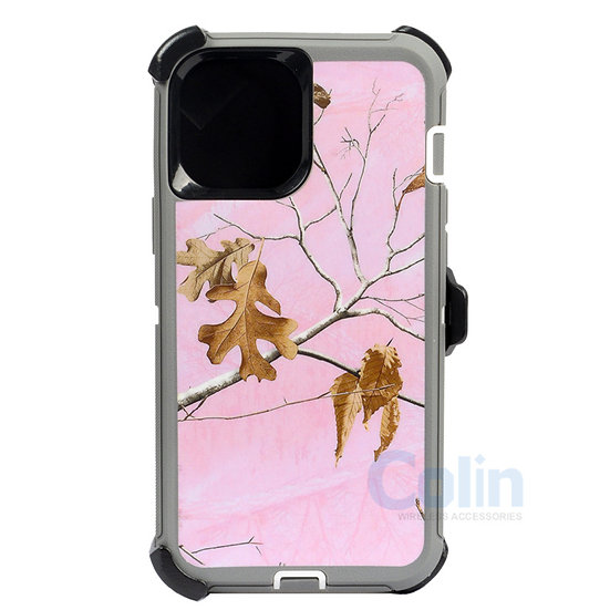 iPhone 12/12 Pro hybrid design case clip heavy duty holster cover - PINK TREE