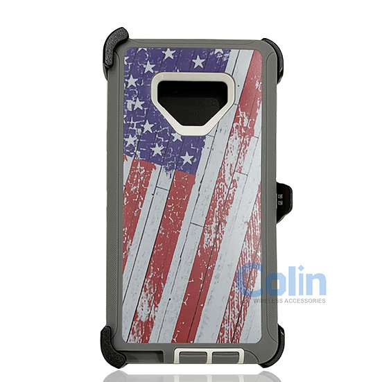 Samsung galaxy Note 9 hybrid design case with clip heavy duty holster cover FLAG