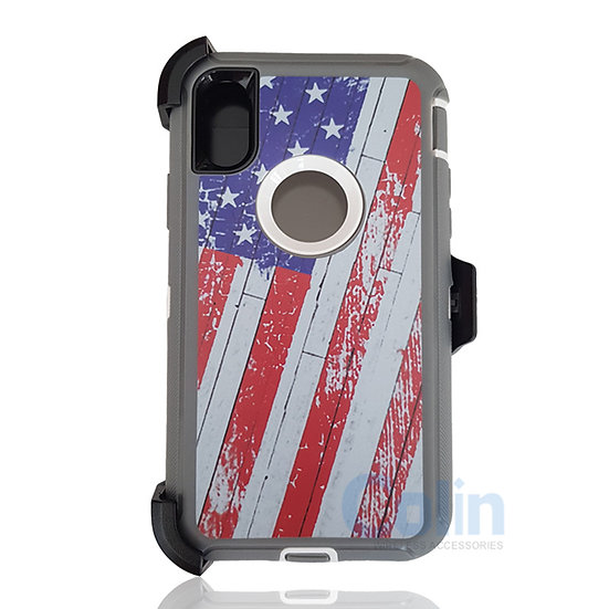 iPhone X & Xs hybrid design case with clip heavy duty holster cover - FLAG