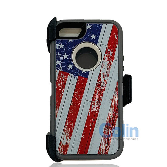 iPhone 5/5S hybrid design case with clip heavy duty holster cover - FLAG