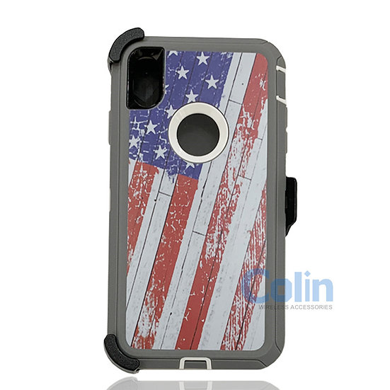 iPhone X R hybrid design case with clip heavy duty holster cover - FLAG