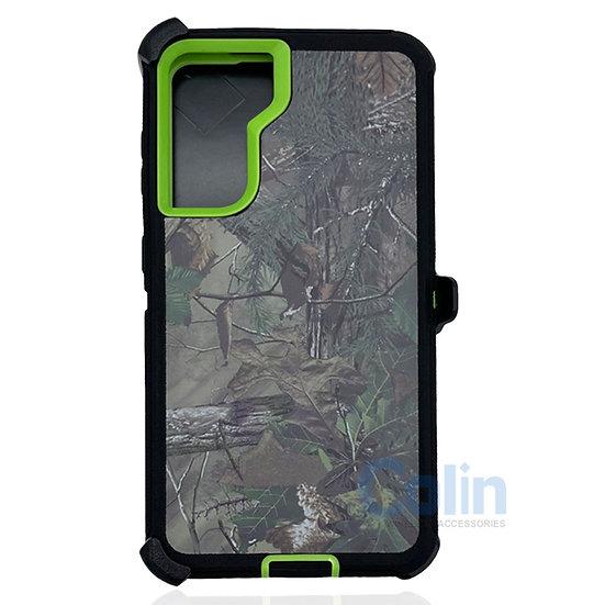 Samsung galaxy S21 hybrid design case clip heavy duty holster cover - GREEN TREE