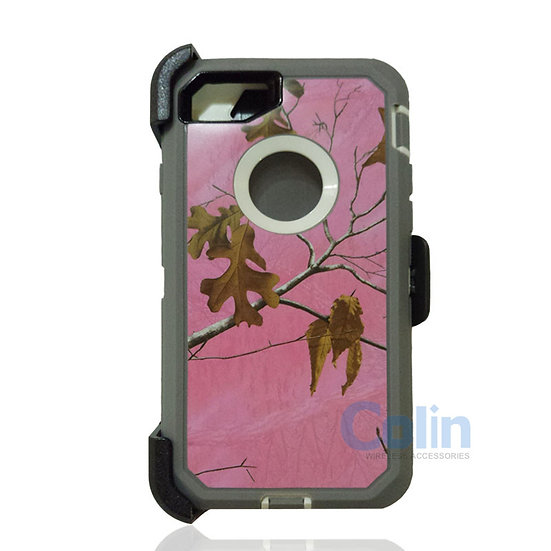 iPhone 7/8 Plus design case with clip heavy duty holster cover - PINK TREE