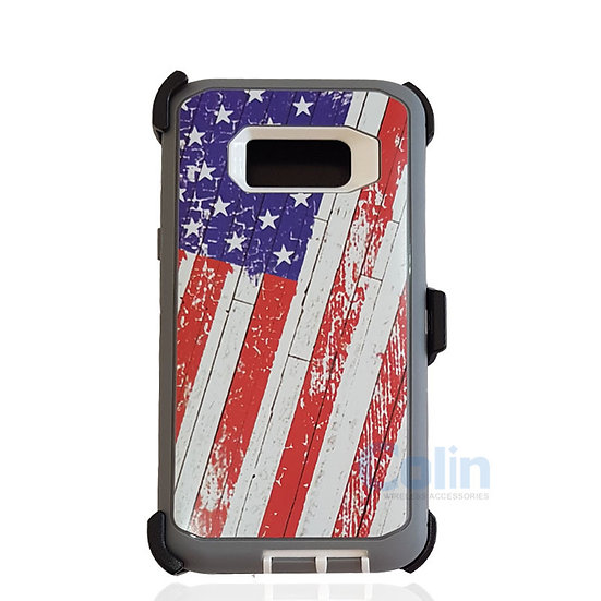Samsung galaxy S8 Plus design case with clip heavy duty holster cover - FLAG