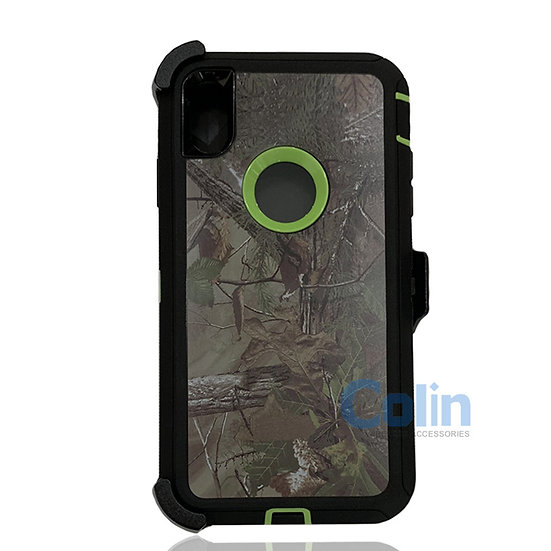 iPhone Xs Max hybrid design case with clip heavy duty holster cover - GREEN TREE