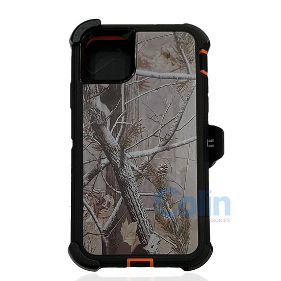 iPhone 11 hybrid design case with clip heavy duty holster cover - ORANGE TREE