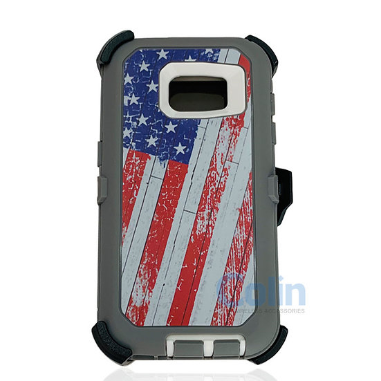 Samsung galaxy S7 hybrid design case with clip heavy duty holster cover - FLAG