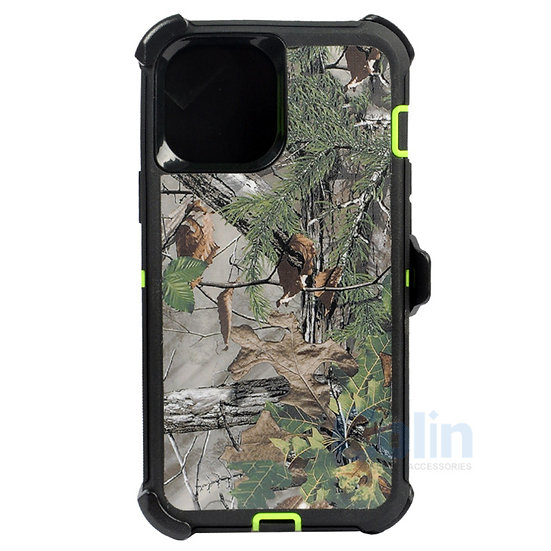 iPhone 12/12 Pro hybrid design case clip heavy duty holster cover - GREEN TREE
