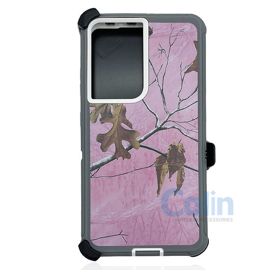 Samsung galaxy S21 ultra hybrid design case clip heavy duty holster  - PINK TREE