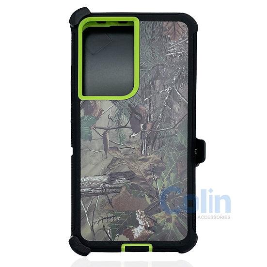 Samsung galaxy S21 ultra hybrid design case clip heavy duty holster - GREEN TREE