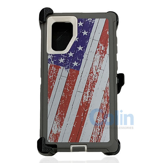Samsung galaxy Note 10 Plus design case with clip heavy duty holster cover FLAG