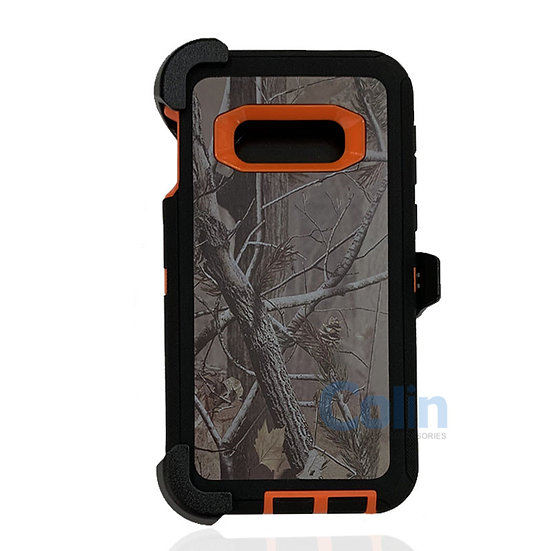 Samsung galaxy S10 E design case with clip heavy duty holster cover ORANGE TREE