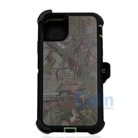 iPhone 11 Pro Max design case with clip heavy duty holster cover - GREEN TREE