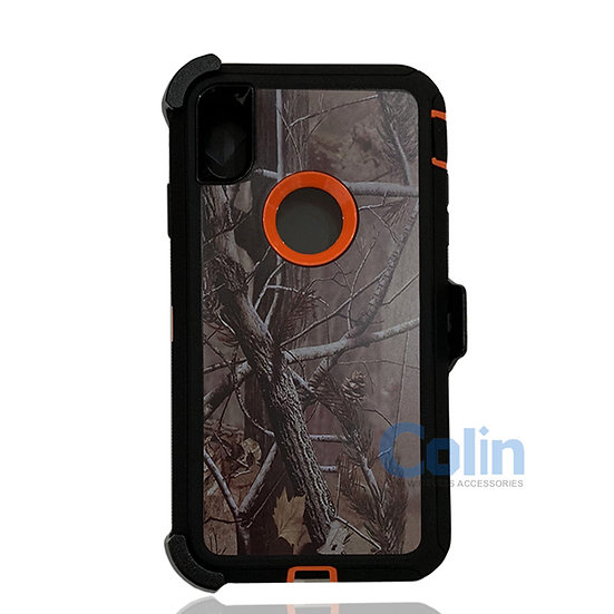 iPhone X R hybrid design case with clip heavy duty holster cover - ORANGE TREE