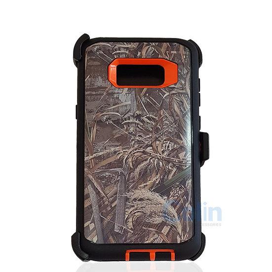 Samsung galaxy S8 Plus design case with clip heavy duty cover - ORANGE GRASS