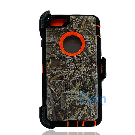 iPhone 6/6S Plus design case with clip heavy duty holster cover - ORANGE GRASS