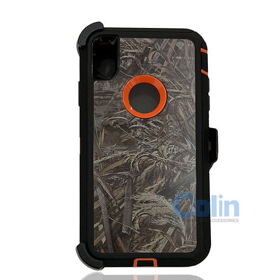 iPhone X R hybrid design case with clip heavy duty holster cover - ORANGE GRASS