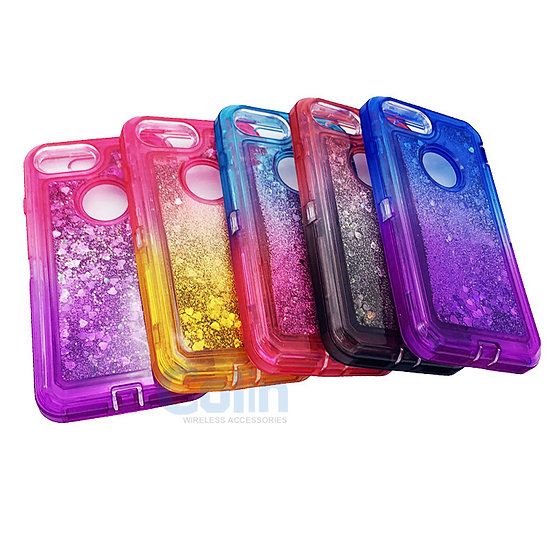 iPhone 6/7/8 Glitter Liquid Floating Case Sparkle Two-Tone Heavy Duty cover