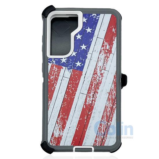 Samsung galaxy S21 plus hybrid design case with clip heavy duty holster  - FLAG