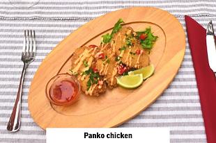 chicken in panko bread crumbs served in an international restaurant in Vodice
