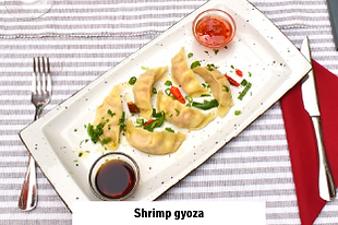 japanese dish shrimp gyoza in asian and croatian restaurant in Vodice