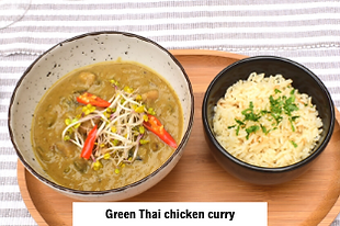 asian food green thai chicken curry served in Dida Boža restaurant in Vodice