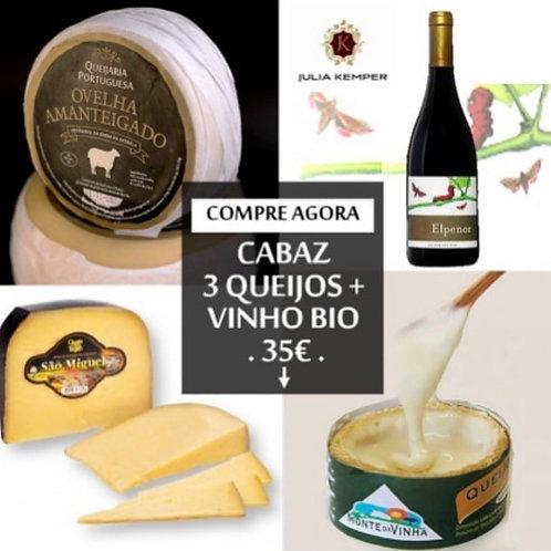 Cabaz 3 Queijos + Vinho Bio
