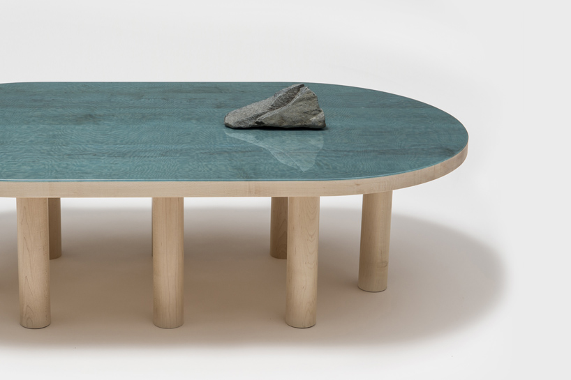 pond table blue stone