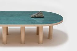 pond table blue stone