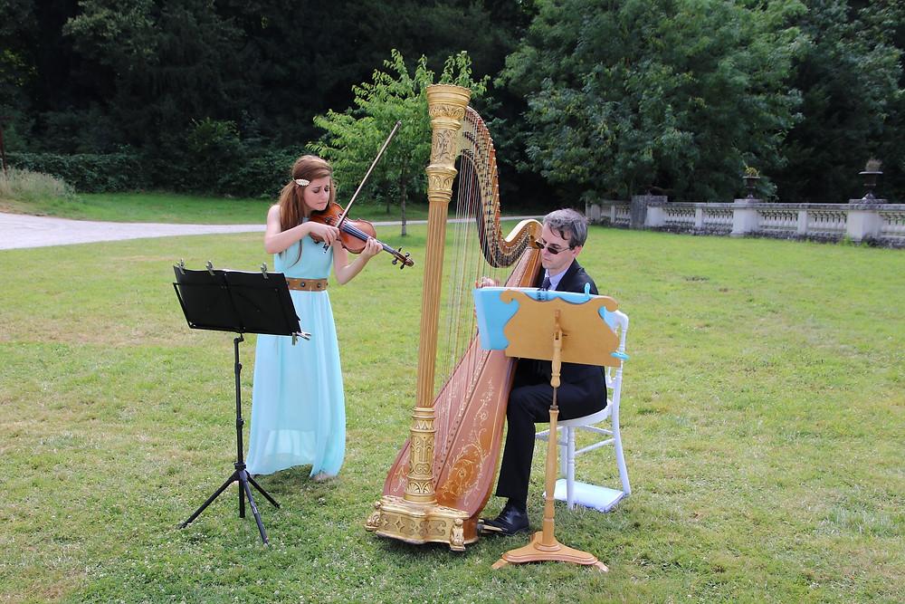 violon harpe duo chateau bouffémont ceremonie laique