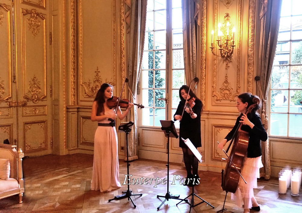 Shangri-La Hotel Palace, Trio, musique mariage, luxury wedding music in france, music band, strings, musique reception , corporate event band, paris