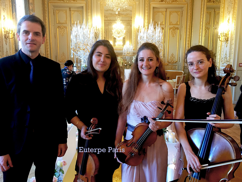 Musiciens paris hotel palace 5 etoiles string trio quatuor a cordes euterpe paris cordes salle bonaparte shangri la paris luxury event music band paris