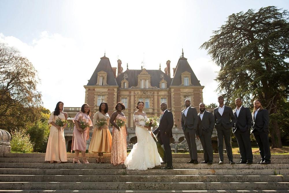 Groom bride wedding chateau bouffémont mariage paris violon