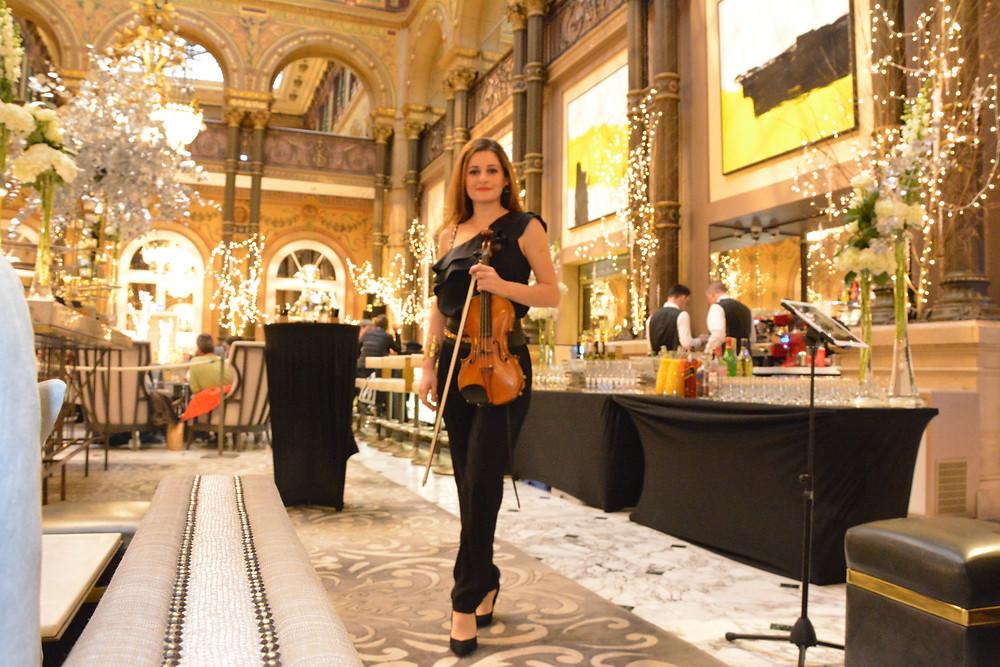 Hotel Hilton Paris, Violon solo, soliste, paris, musicien haut niveau, parisienne, chic, live  music, private evenet, event music france, noel , wedding