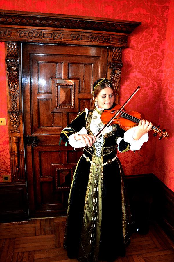 Renaissance costume, handemade, idées d'animation musicale, corporate, haut de gamme couture, violoniste, medieval, rouge, chateau, loire, histoire de france, concert classiqe original