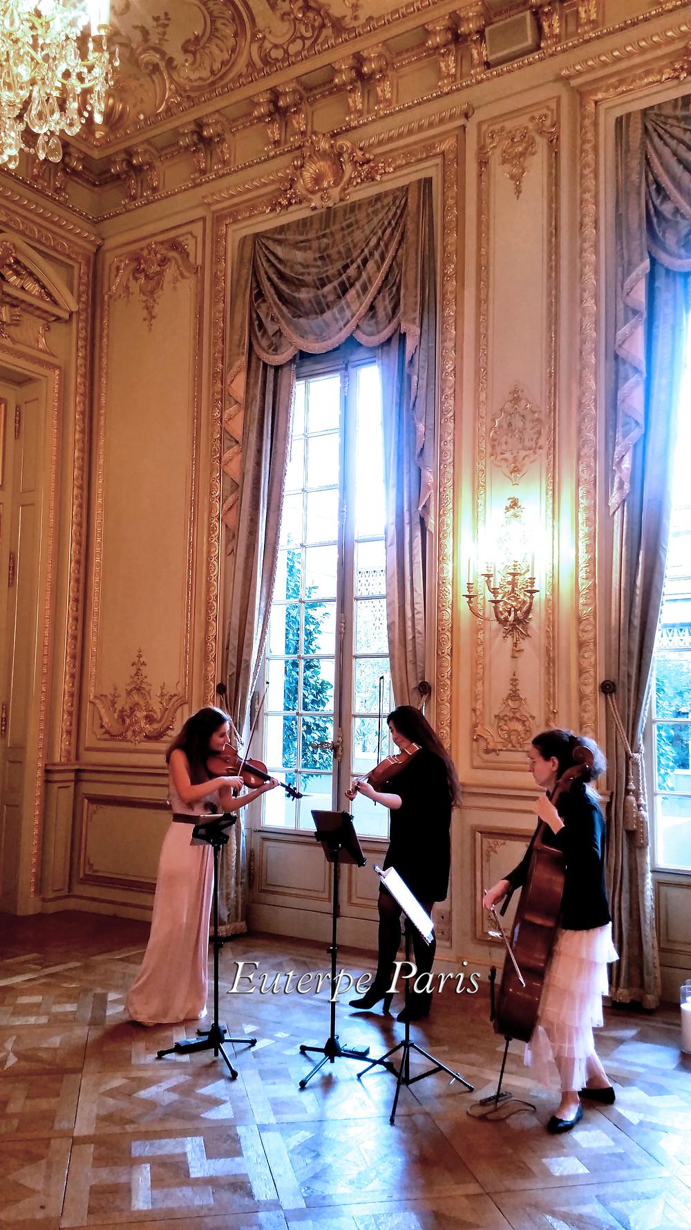 Shangri-La Paris wedding music in france, euterpe paris, trio cordes, quatuor a cordes, musique reception, musique mariage paris